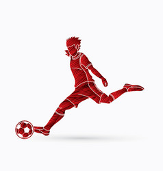 soccer player shooting a ball action vector image