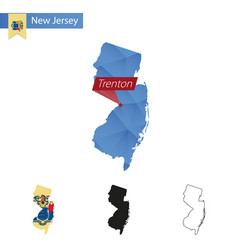 State new jersey blue low poly map vector