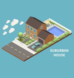 suburban house isometric design concept vector image