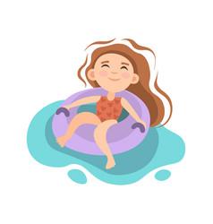 summer kids activity - little girl sitting vector image