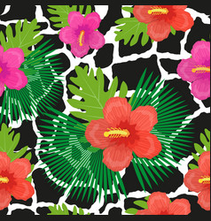 Tropical flowers plants leaves and animal skin vector