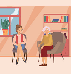 Two elderly women on a meeting at home sitting on vector