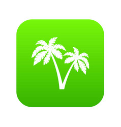 two palms icon digital green vector image
