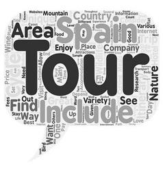 Unique tours of spain text background wordcloud vector