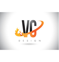 Vc v c letter logo with fire flames design and vector