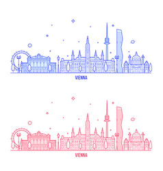 Vienna skyline austria city buildings vector