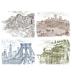 Vintage landscape historical architecture and vector
