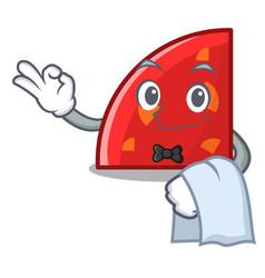 Waiter quadrant mascot cartoon style vector