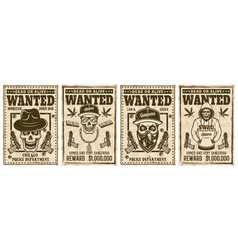 Wanted set posters with gangster skulls vector