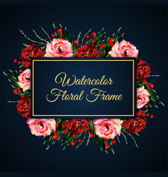 Watercolor floral frame with dark background vector