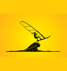 Windsurfing man play windsurf graphic vector