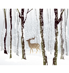 Winter Forest and Deer vector