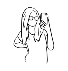 woman with glasses taking photo with mobile phone vector image