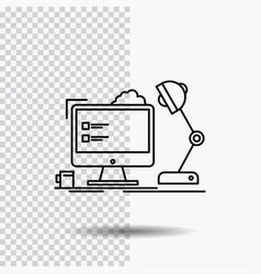 Workplace workstation office lamp computer line vector