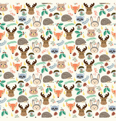 seamless pattern with cute cartoon forest animals vector image