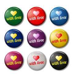bright round labels with hearts vector image vector image