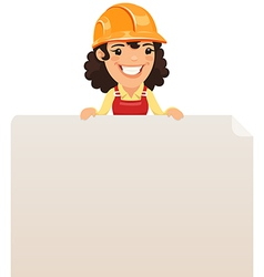 Female builder looking at blank poster on top vector