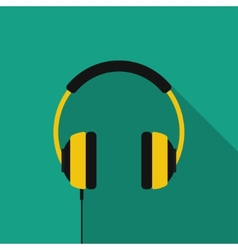 Flat headphones with long shadow icon vector image