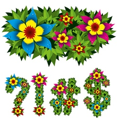 flowers alphabet 13 vector image vector image