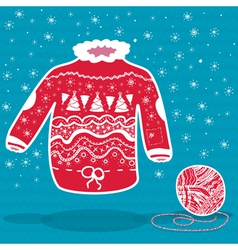 Red knitted christmas sweater and a ball of yarn vector
