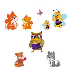 animals isolated on white vector image vector image