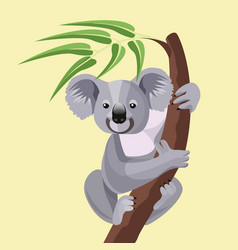 grey koala bear isolated on wood branch with green vector image