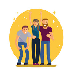 happy group of young people vector image