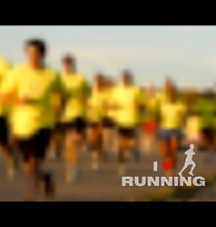 I love running blurred background vector image