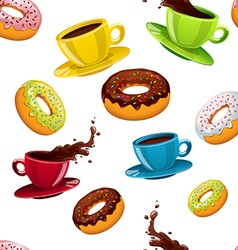 seamless pattern with donuts and coffee vector image vector image