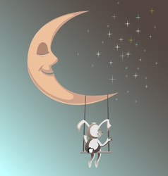 Smiling moon with rubbit1 vector