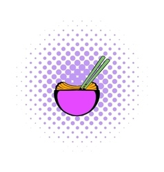 Bowl of rice with chopsticks icon comics style vector image vector image