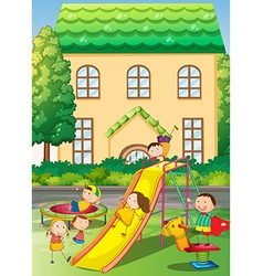 Children playing in the neighborhood playground vector image vector image