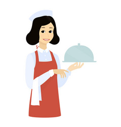 cute waitress with the tray dishcartoon vector image vector image