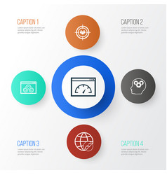 marketing icons set collection of intellectual vector image