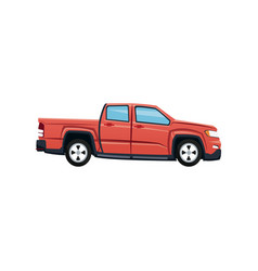 red pickup truck vehicle transport vector image