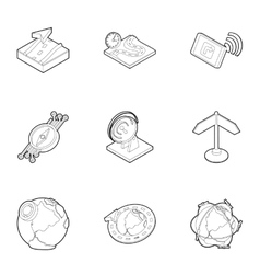 Search territory icons set outline style vector image