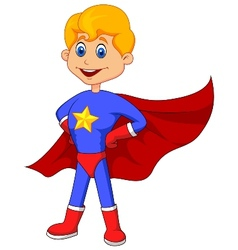 Superhero kid cartoon vector image vector image