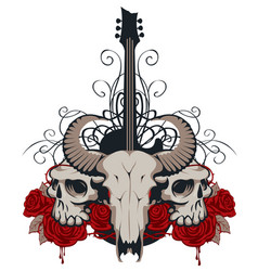 with guitar skulls roses and blood vector image