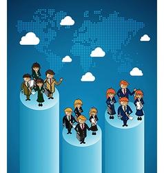 World map business teamwork ranking vector image vector image