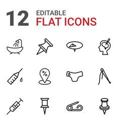 12 needle icons vector image