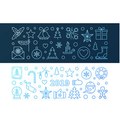 2019 new year set of 2 blue banners in thin vector