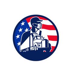 American trucker wearing mask usa flag circle vector