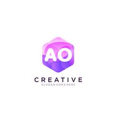 Ao initial logo with colorful hexagon modern vector