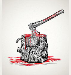 Ax in a wooden stump with blood stains vector