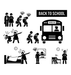 Back to school stick figure pictograph depicts vector