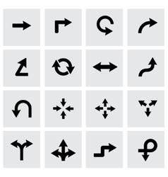 black arrows icon set vector image