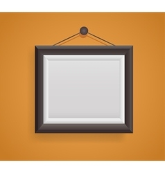 blank picture frame template hanging on orange vector image