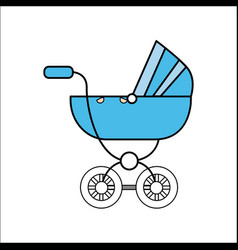 blue baby carriage icon vector image