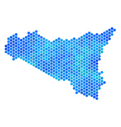 blue hexagon sicilia map vector image