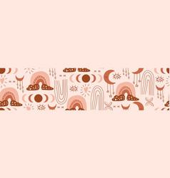 Boho seamless banner vector